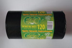 Worki na śmieci LDPE 120L a'25 czarne