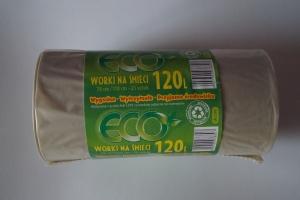 Worki na śmieci LDPE 120L a'25 bezbarwne