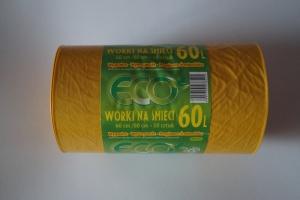 Worki na śmieci LDPE 60L a'50 żółte