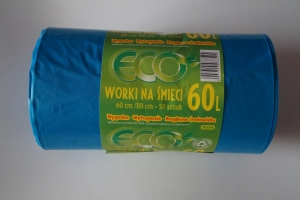 Worki na śmieci LDPE 60L a'50 niebieskie
