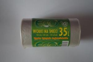 Worki na śmieci LDPE 35L a'50 bezbarwne